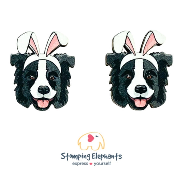 Border Collie (Black) Easter Studs