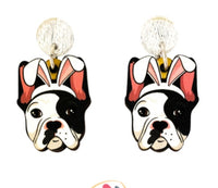 Frenchie (Black & White) Easter Dangles