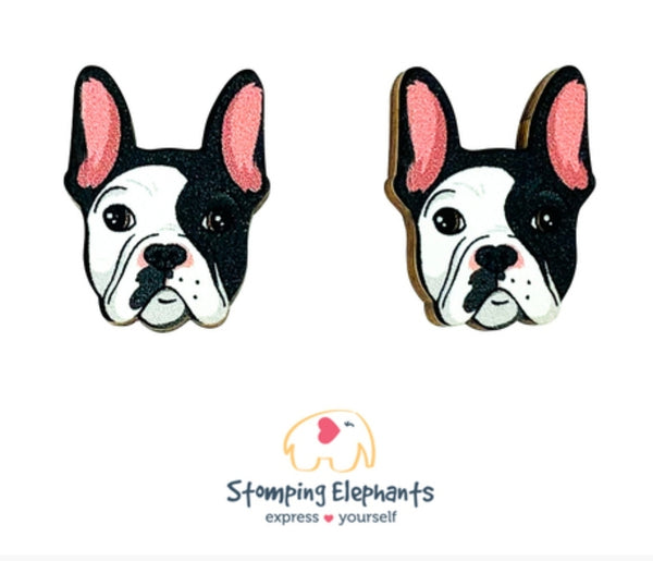 Frenchie (Black & White) Head Studs