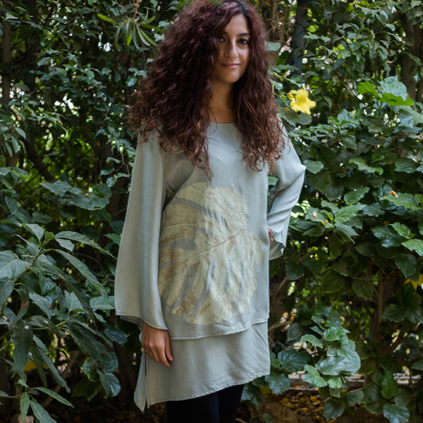 N48 Top long sleeve round neck two layers ( Sage Color )