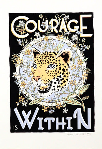 Screen print tiger courage within cuemars