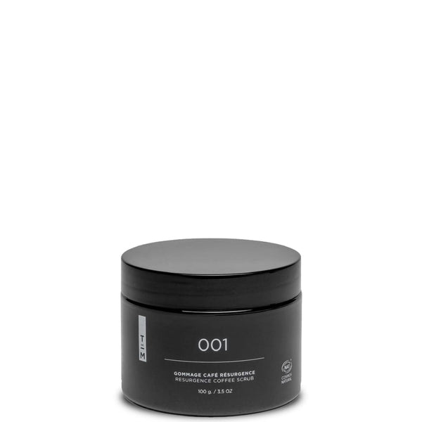 black container of 001 gommage coffee scrub by Parisian brand Terre de Mars