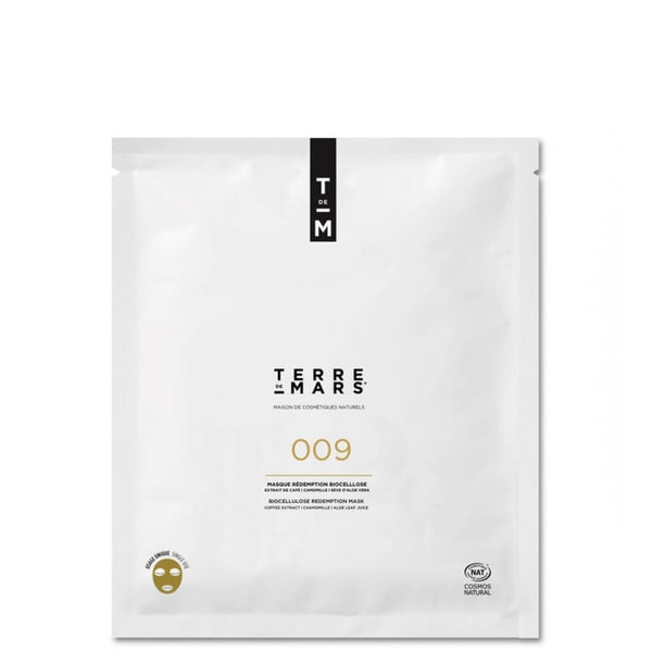 white package of terre de mars 009 redemption biocellulose biodegradable sheet mask
