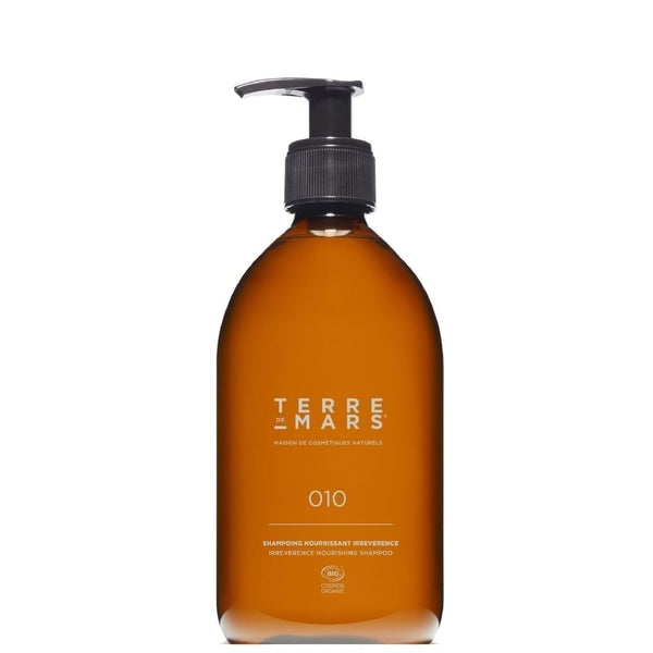 Amber glass 500ml bottle of irreverence nourishing shampoo by French brand Terre de Mars