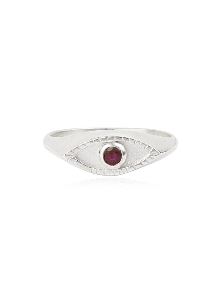 Momocreatura Silver Signet Ring with Ruby Gemstone