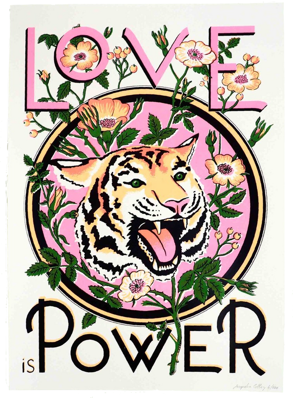 A2 SCREEN PRINT -  LOVE IS POWER SILK