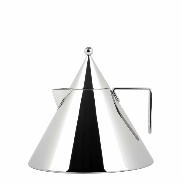 Alessi Il Conico Water kettle, a conical kettle in stainless steel mirror polished body and a magnetic steel base