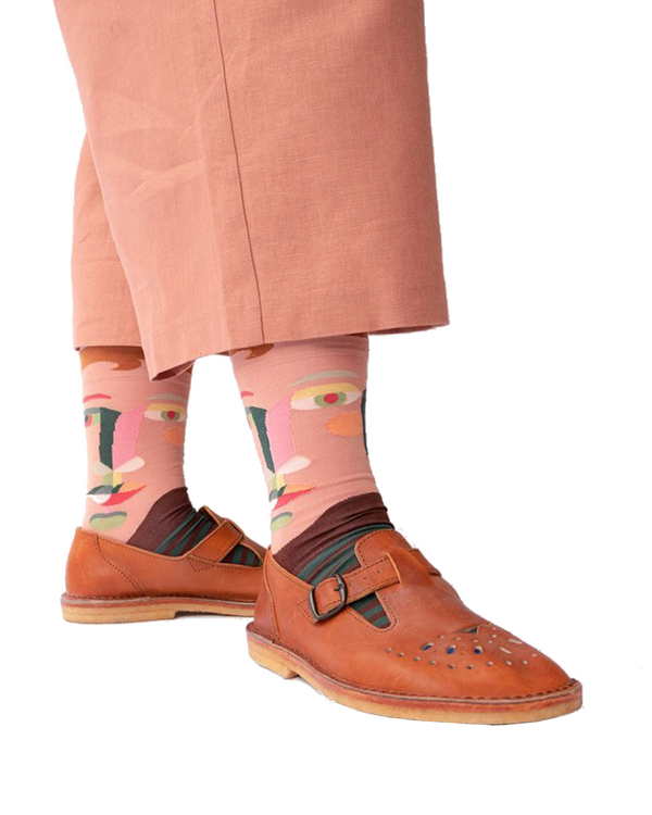 Bonne Maison Egyptian Cotton Socks 'Chestnut Face' | Unisex Socks available at UK stockists Cuemars.
