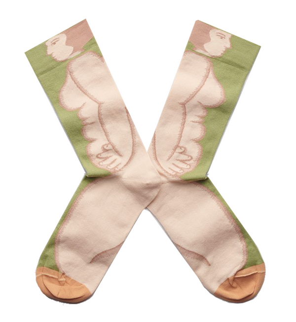 Bonne Maison Egyptian Cotton Socks 'Moss Nude' | Unisex Socks available at UK stockists Cuemars.