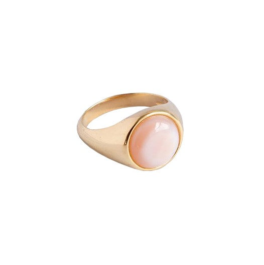 Sterling Silver  x Gold Plated Signet Ring with Mother of Pearl Gemstone | Discover at Cuemars London