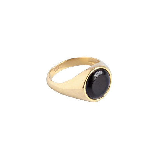 Sterling Silver x Gold Plated Signet RIng with Onyx Gemstone | Discover at Cuemars London