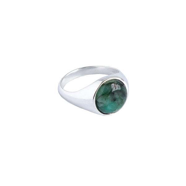 Sterling Silver Signet Ring with Emerald Gemstone | Discover at Cuemars London