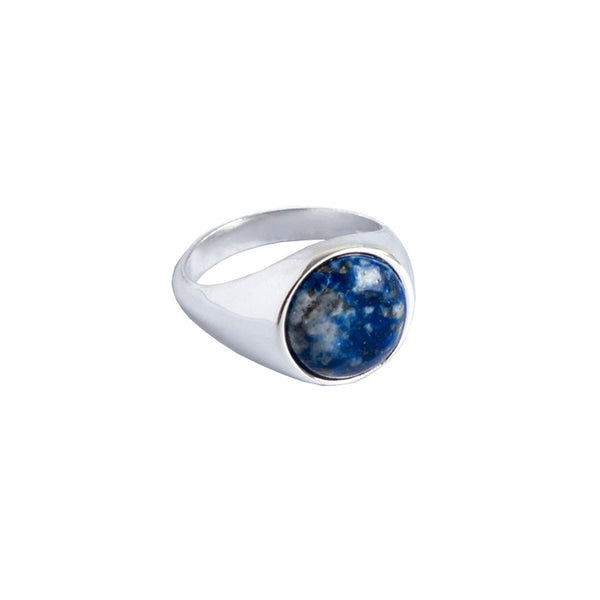 Sterling Silver Signet Ring with Lapis Lazuli Gemstone | Discover at Cuemars London