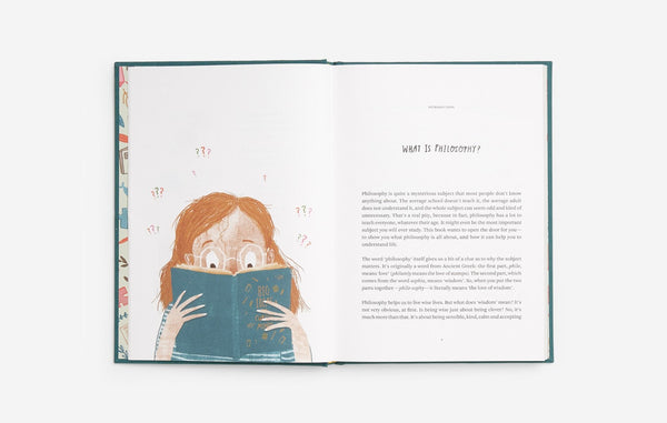 Extract of Big ideas for Curious Minds with illustrations from Anna Doherty, a book that introduces philosophy to children