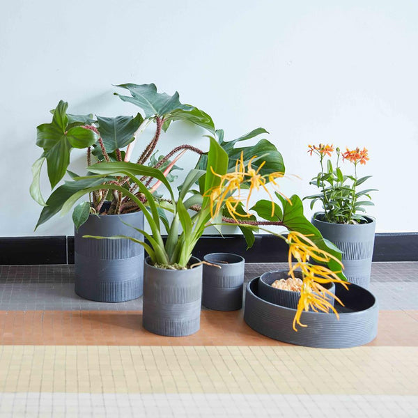 charcoal grey long ceramic planters or vases different sizes