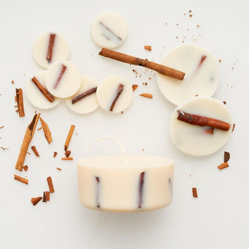 Cinnamon eco soy wax candle & soy discs - gift box