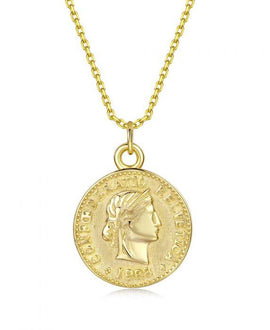 Helvetica - Five Pence Gold Coin Necklace