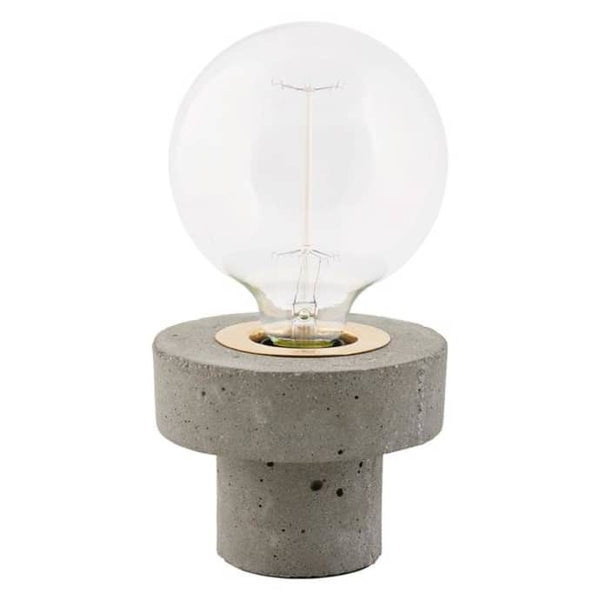 Concrete table lamp & light bulb