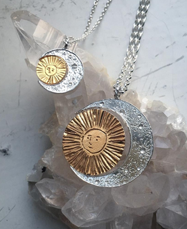 Silver x Gold Crescent Moon and Sun Necklace