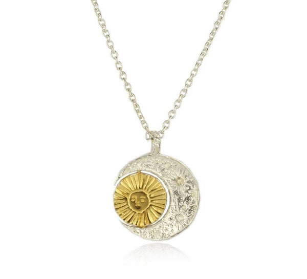 Momocreatura Crescent Moon and Revolving Sun Necklace Gold Plated x Sterling Silver