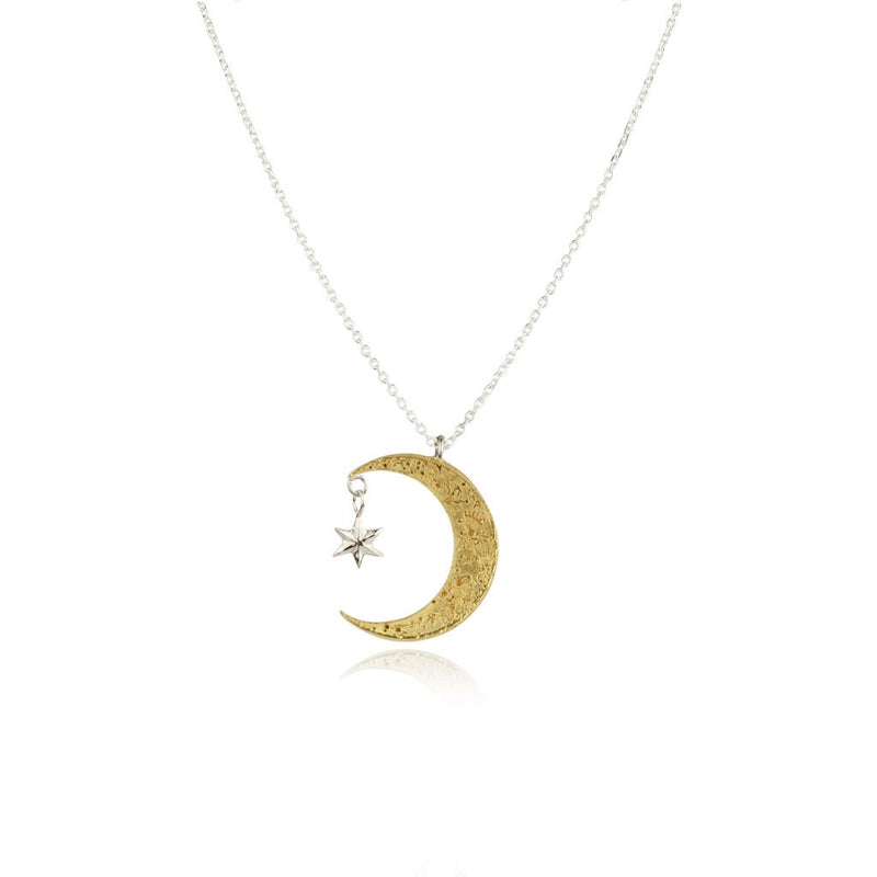 Momocreatura Crescent Moon and Star Necklace Gold Plated, Sterling Silver