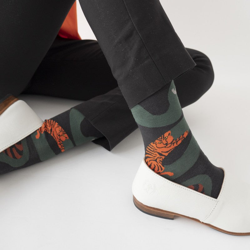 Bonne Maison Egyptian Cotton Socks 'Dark Snake' | Unisex Socks available at UK stockists Cuemars.