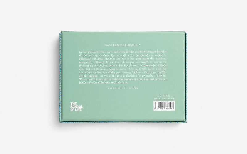Back of the gift box of 20 illustrated cards about Eastern Philosophy by The School of Life