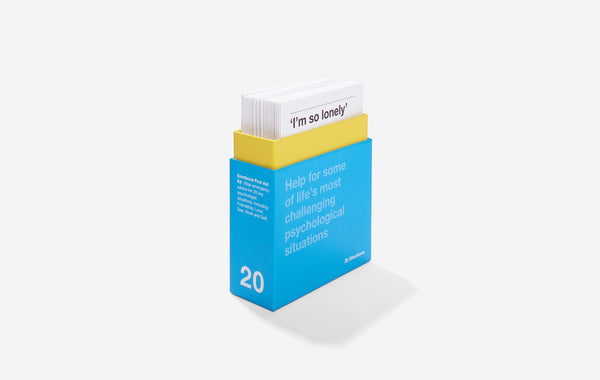 Details of The School of Life's Emotional First Aid Kit booklets for 20 challenging situations