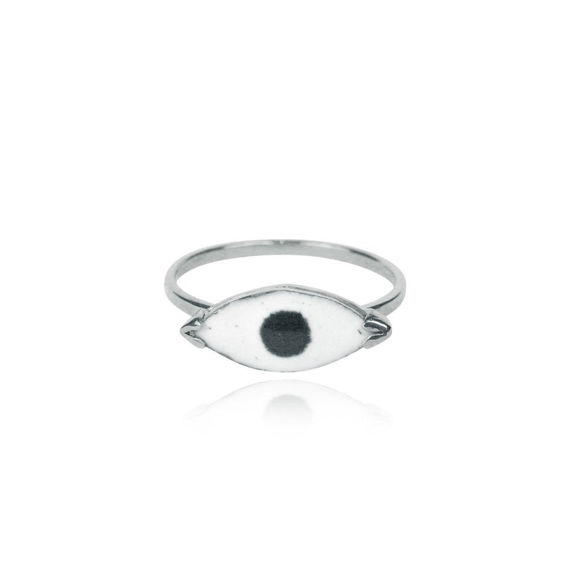 Momocreatura Enamel Eye Ring Silver