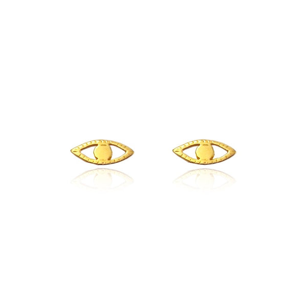 Eye stud earrings gold