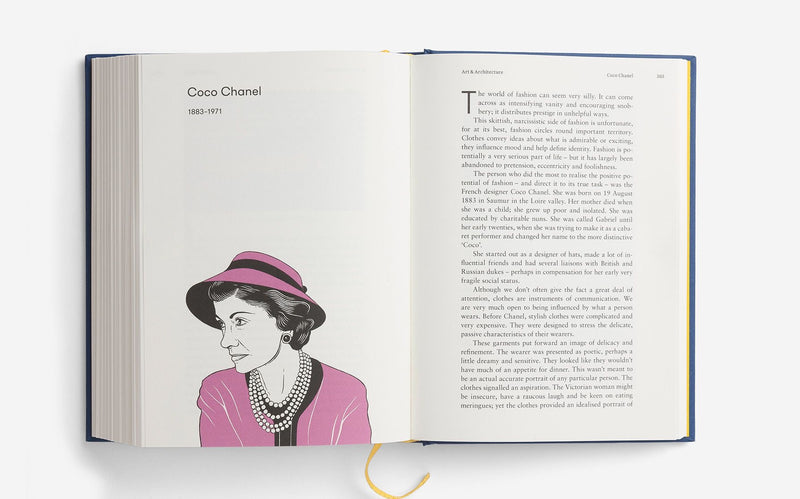 Coco Chanel illustration from The School of Life Great Thinkers book showcasing ideas from the best thinkers of our millenium