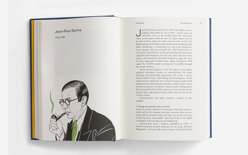 Jean Paul Sartre illustration from The School of Life Great Thinkers book showcasing ideas from the best thinkers of our millenium