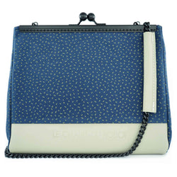 The BLue Dots clutch is part of a collection of unique handbags by Le Chant du Robot, a French accessories brand by Geoffrey.