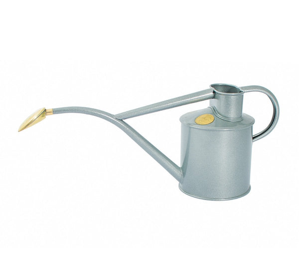 Haws handmade metal indoor watering can in galvanised with brass rose and Haws emblem in brass