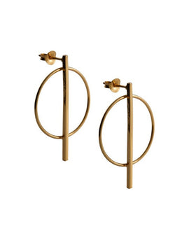 Olivia - Gold Hoop Drop Earrings