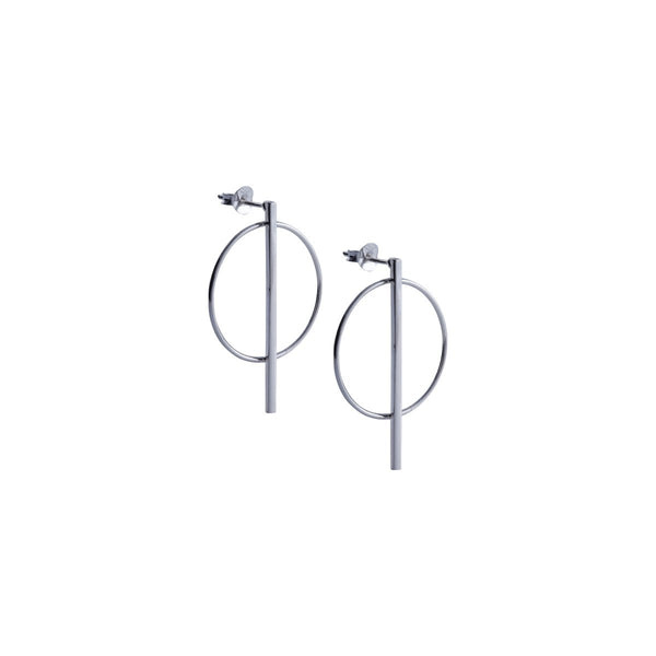 Fresh and minimalist Silver hoop drop earrings Olivia by Keep it Peachy now online in Cuemars