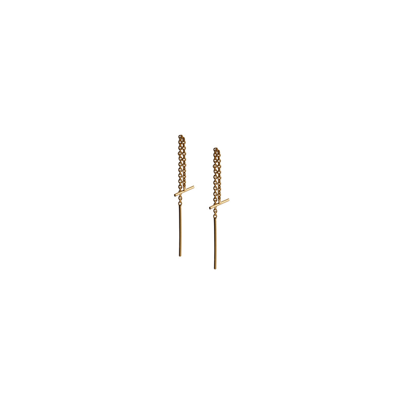 Fresh and minimalist gold bar threader earrings by Keep it Peachy now online on Cuemars