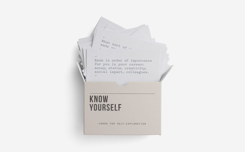 Picture of some of the cards of Know Yourself by The School of Life, 60 prompt cards for self-exploration