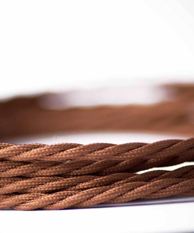 Brown twisted lighting fabric cable vintage lighting industrial lighting cuemars