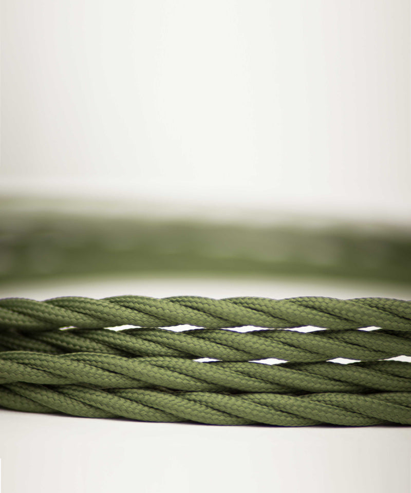 Green army twisted lighting fabric cable vintage lighting industrial lighting cuemars