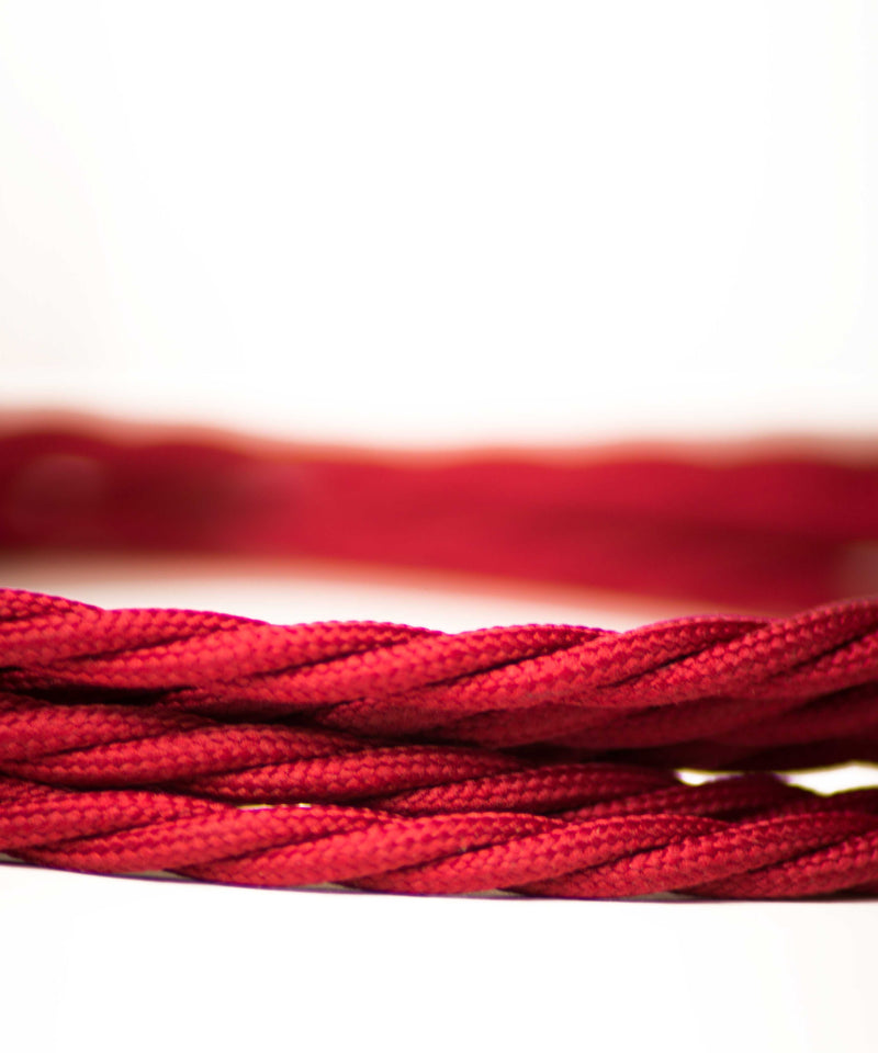 Red Burgundy twisted lighting fabric cable vintage lighting industrial lighting cuemars