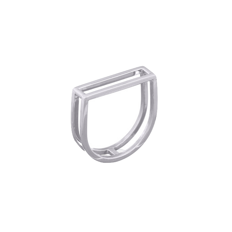 picture of handmade square ring in Sterling Silver by indie brand Keep it Peachy, available exclusively at Cuemars