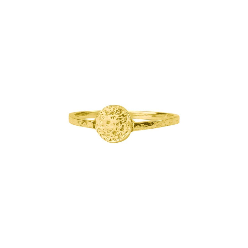 Momocreatura Moon Disc Ring Gold Plated Sterling Silver