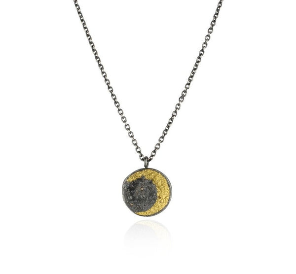 Momocreatura Disc Moon Necklace Gold Plated Sterling Silver