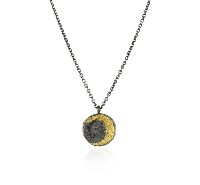 Moon disc necklace gold x black