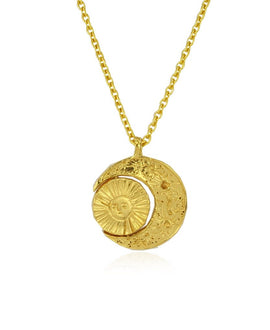 Gold Crescent Moon & Sun Necklace