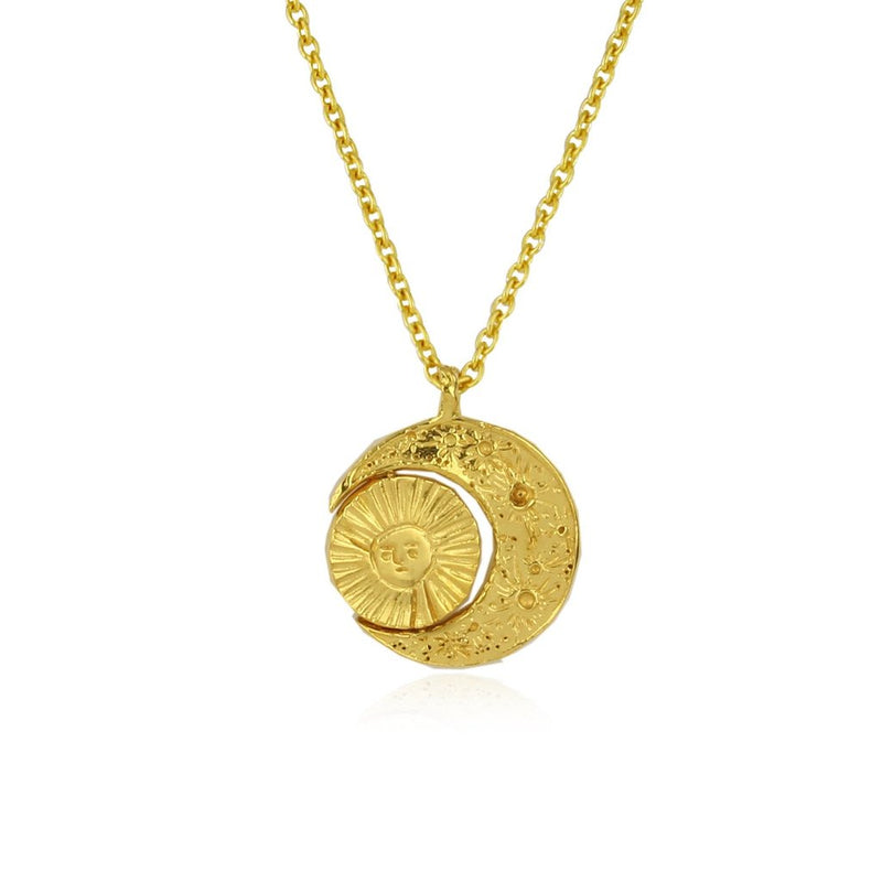 Momocreatura Crescent Moon and Face of the Sun Gold Necklace