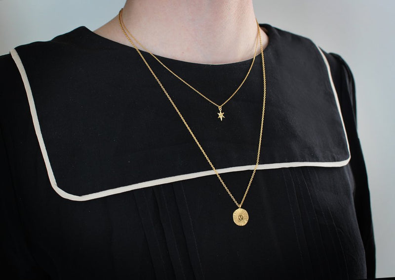 Momocreatura Sun Disc Necklace Gold