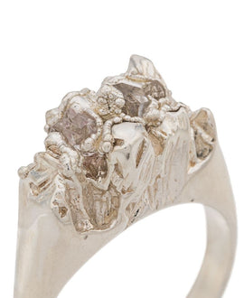Silver Textured Herkimer Diamond Ring - Under Earth Collection