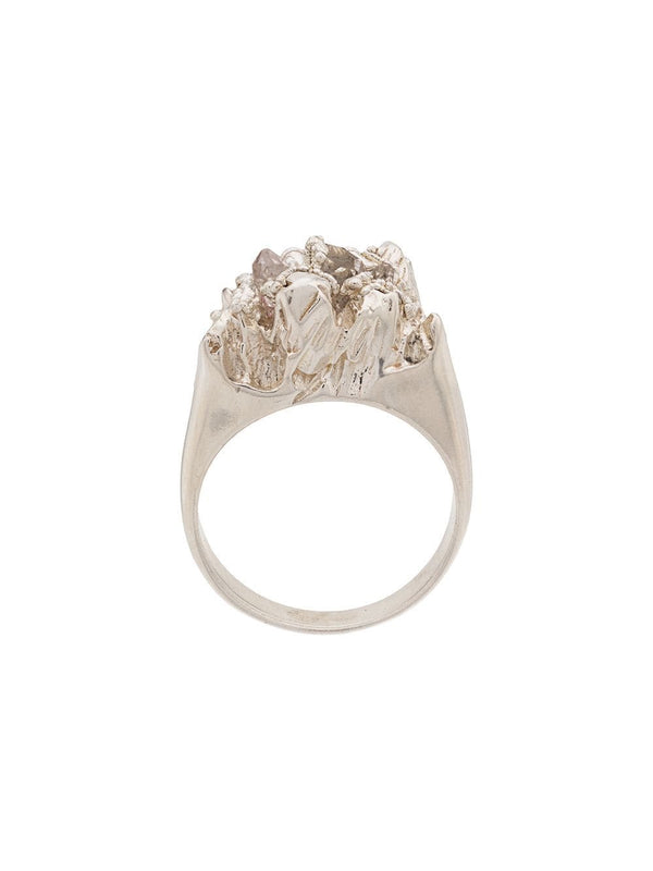 Handmade statement ring with Herkimer diamonds by Niza Huang